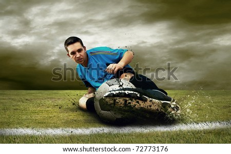 Soccer players on the field - stock photo