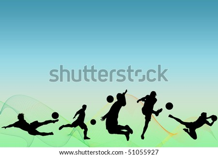 Soccer players silohuettes over blue and green background with lines - stock photo