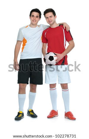 soccer players with a ball isolated on white background - stock photo