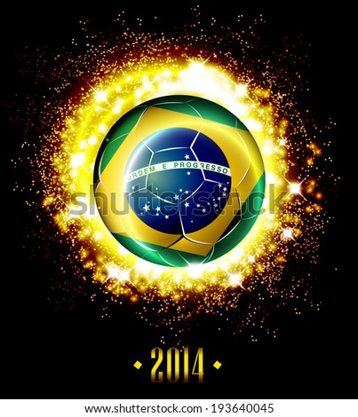 Soccer poster with football ball with Brazil flag, illustration template design.  - stock photo