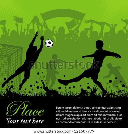Soccer Poster with Players and Fans on grunge background, element for design, illustration - stock photo
