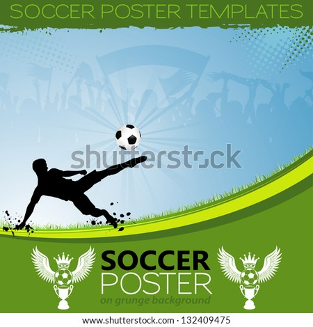 Soccer Poster with Players, Cup and Fans, element for design, illustration - stock photo
