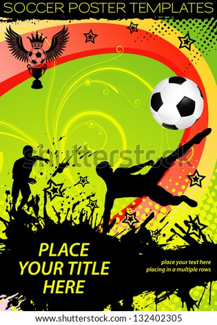 Soccer Poster with Players with Ball on grunge background, element for design, illustration - stock photo