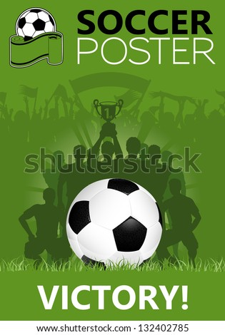 Soccer Poster with Winning Team with the Cup in his hands, illustration - stock photo