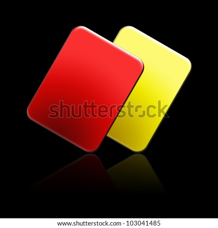 Soccer Referee Cards with Reflection Effect - stock photo