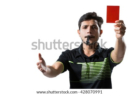 Soccer referee gave a red card - stock photo