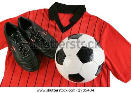 Soccer referee red shirt black shoes and ball isolated with clipping path - stock photo