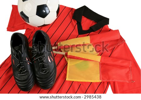 Soccer referee shoes shirt flags and ball isolated with clipping path - stock photo