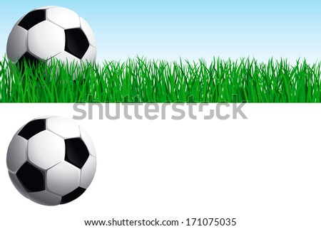 Soccer set. Banner of soccer ball on green grass, and soccer ball  isolated on white background