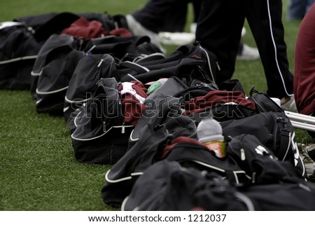 Soccer sideline gym bags. - stock photo