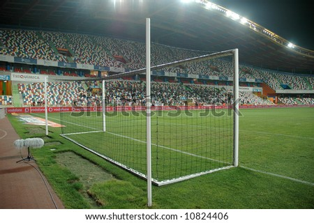 soccer stadium football at night - stock photo