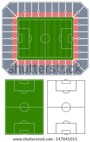 Soccer stadium illustration with stands and extra pitches - stock photo