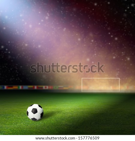 Soccer stadium, soccer ball on green stadium, arena in night illuminated bright spotlights, soccer goal, smoke on stadium - stock photo