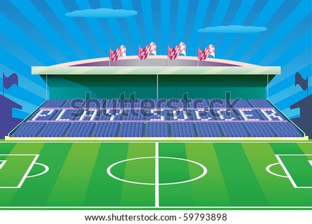 "Soccer stadium with inscription ""play soccer"" on tribune. Vector illustration. - stock photo"