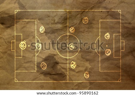 soccer strategy formation type : 3-5-2 Type 2 - stock photo