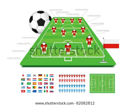 Soccer Tactical Kit Set for infographics - stock photo