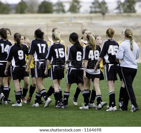 Soccer team celebration - stock photo
