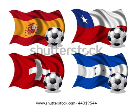 soccer team flags group H - stock photo