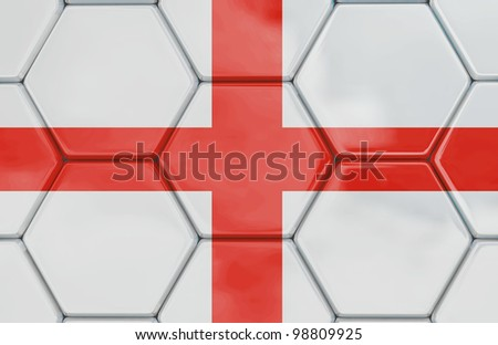 Soccer texture with a English flag, Created in 3D software, - stock photo