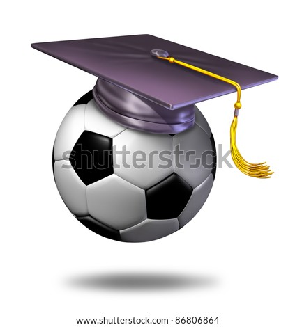 Soccer training school by professionals for learning the skills  with a mortar hat or graduation cap on a ball showing the certification of a student for the completion of the course. - stock photo