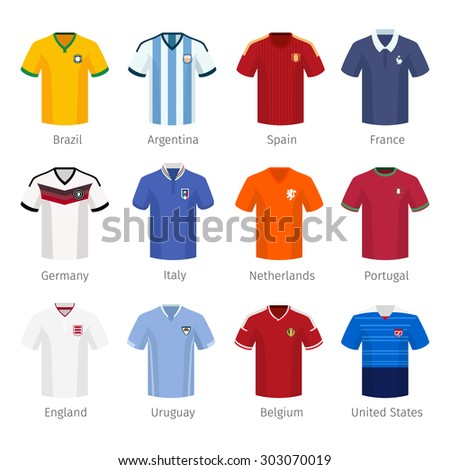 Soccer uniform or football of national teams. argentina brazil spain france germany italy netherlands portugal england - stock photo