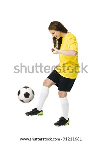 Soccer Woman isolated on white background - stock photo