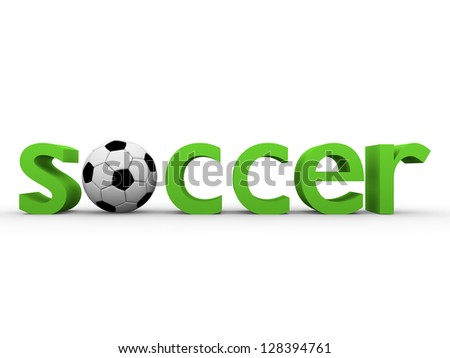 Soccer word with a ball in black and white and green letters