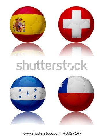 Soccer world championship - South Africa Four soccer balls representing the national teams of the Group H.  Top left:Spain - Top right:Switzerland - Bottom left:Honduras - Bottom right:Chile - stock photo