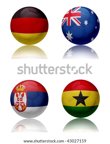 Soccer world championship - South Africa Four soccer balls representing the national teams of the Group D.  Top left:Germany - Top right:Australia - Bottom left:Serbia - Bottom right:Ghana - stock photo