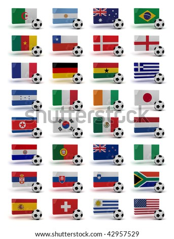 Soccer World Cup 2010 participating countries - complete set of flags and soccer balls of all competing nations - stock photo