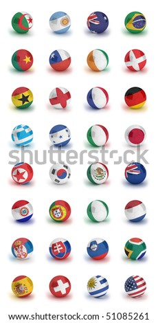Soccer World Cup 2010 participating countries - complete set of soccer balls of all competing nations - stock photo