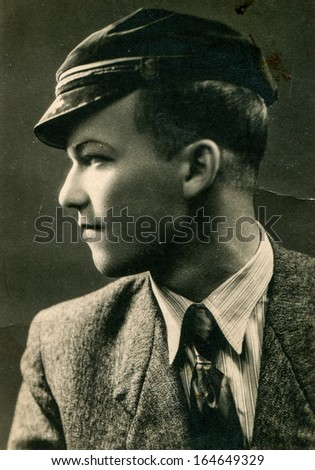 SOCHACZEW, POLAND - CIRCA 1947: Vintage photo of young man, Sochaczew, Poland, circa 1947