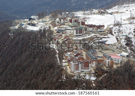 SOCHI, ADLER DISTRICT, KRASNODAR KRAI, RUSSIA-MAR 2, 2014: Mountain Olympic village at Rosa Khutor, Krasnaya Polyana - the place of residence of the athletes of the winter Olympic games 2014, top view