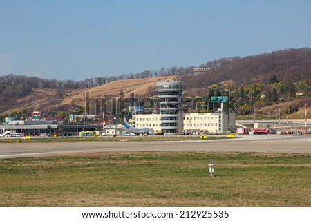 SOCHI, ADLER, RUSSIA - FEB 24, 2014: The building of the Adler airport and tower control office