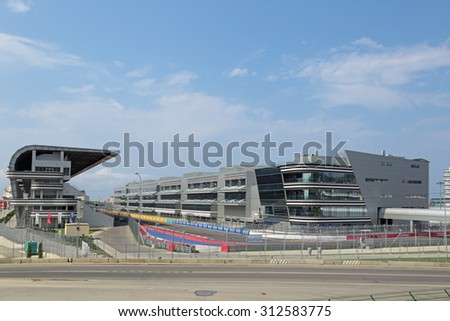 SOCHI, RUSSIA - AUG 03, 2015: Spectator stands F1 Russian Grand Prix Sochi Circuit. Preparation for competitions to be held on 8-11 October 2015 - stock photo