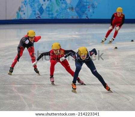 Sochi, RUSSIA - February 18, Alang KIM (KOR), No 136 at Ladies' 3000 m Heats Short Track Relay at the Sochi 2014 Olympic Games - stock photo