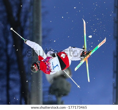 Sochi, RUSSIA - February 10, 2014: Alex BILODEAU (CAN) at Freestyle skiing. Men's Moguls Qualification at Sochi 2014 XXII Olympic Winter Games - stock photo