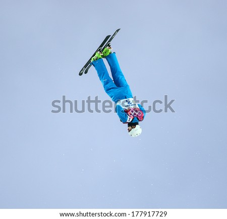 Sochi, RUSSIA - February 16, 2014: Anton KUSHNIR (BLR) at freestyle Skiing competition during Men's Aerials Qualification at Sochi 2014 XXII Olympic Winter Games