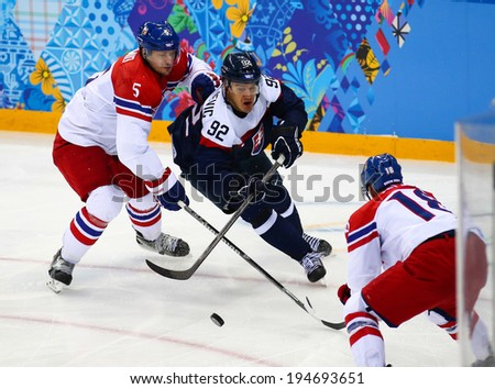 Sochi, RUSSIA - February 18, 2014: Branko RADIVOJEVIC (SVK) on ice during Ice hockey Men's Play-offs Qualifications Game vs. Czech Republic team at the Sochi 2014 Olympic Games - stock photo