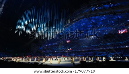 Sochi, RUSSIA - February 23, 2014: Closing Ceremony in Fisht Olympic Stadium at the Sochi 2014 Olympic Games