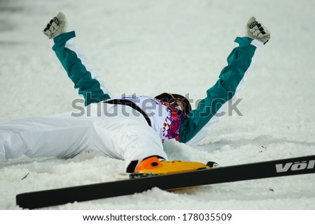 Sochi, RUSSIA - February 16, 2014: David MORRIS (AUS) at freestyle skiing competition in Men's Aerials Final at Sochi 2014 XXII Olympic Winter Games