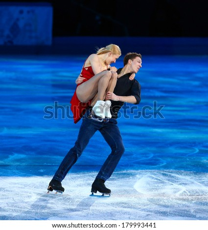 Sochi, RUSSIA - February 22, 2014: Ekaterina BOBROVA and Dmitri SOLOVIEV at Figure Skating Exhibition Gala at Sochi 2014 XXII Olympic Winter Games
