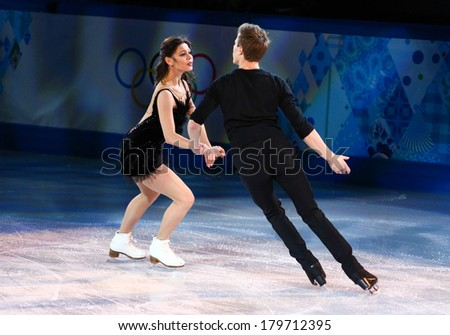 Sochi, RUSSIA - February 22, 2014: Elena ILINYKH and Nikita KATSALAPOV at Figure Skating Exhibition Gala at Sochi 2014 XXII Olympic Winter Games