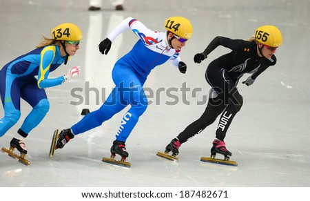 Sochi, RUSSIA - February 18, 2014: Emily SCOTT (USA) No.155 at Ladies' 1000 m Short Track Heats at the Sochi 2014 Olympic Games