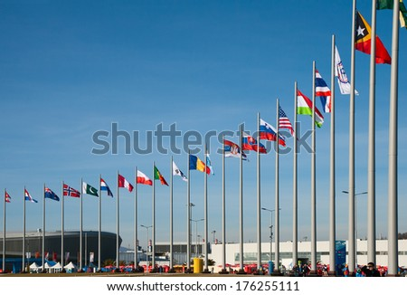 SOCHI, RUSSIA.  FEBRUARY 07, 2014 - Flags of the countries-participants of winter Olympic Games in Sochi Olympic Park