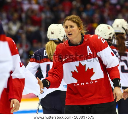 Sochi, RUSSIA - February 20, 2014: Hayley WICKENHEISER (CAN) at Canada vs. USA Ice hockey Women's Gold Medal Game at the Sochi 2014 Olympic Games - stock photo