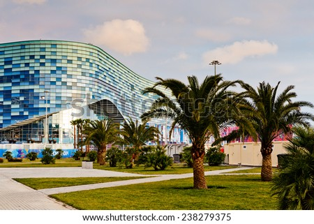 SOCHI, RUSSIA - FEBRUARY 5, 2014: Ice rink for figure skating Iceberg in Olympic park - stock photo