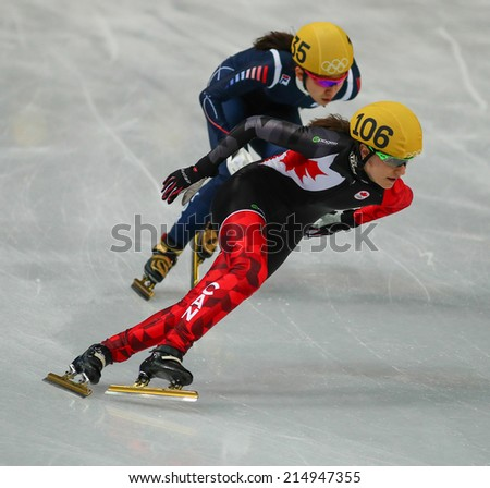 Sochi, RUSSIA - February 18, Jessica HEWITT (CAN), No 106 at Ladies' 3000 m Heats Short Track Relay at the Sochi 2014 Olympic Games - stock photo