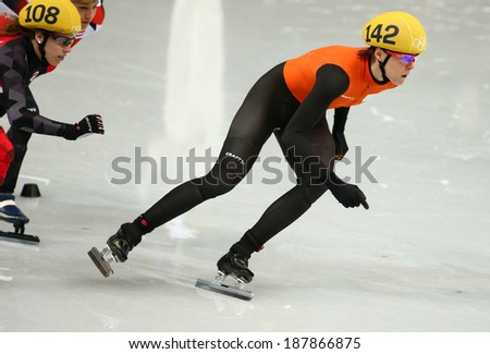 Sochi, RUSSIA - February 18, 2014: Jorien TER MORS (NED) No.142 at Ladies' 1000 m Short Track Heats at the Sochi 2014 Olympic Games