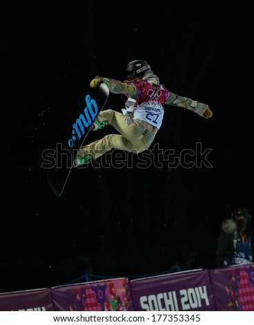 Sochi, RUSSIA - February 12, 2014: Kaitlyn FARRINGTON (USA) at snowboard competition during Ladies' Halfpipe Qualification at Sochi 2014 XXII Olympic Winter Games
